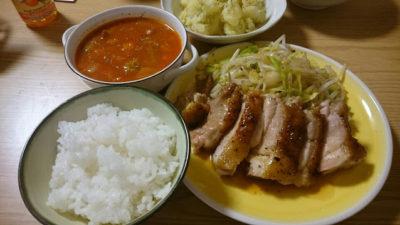 ハーブチキンソテーとご飯とスープ