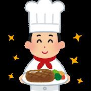 ハンバーグを持った料理人