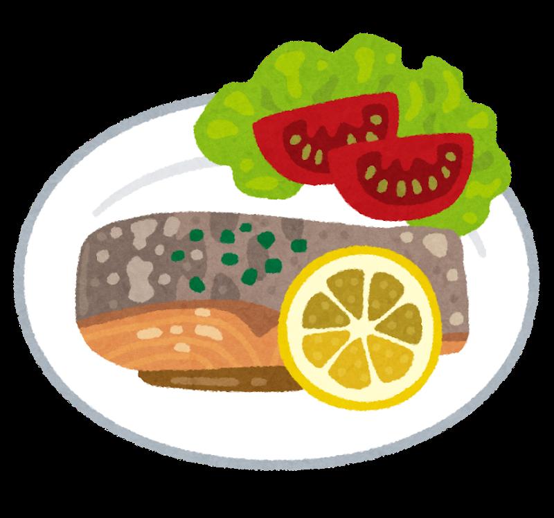 キレイに盛り付けられた料理のイラスト