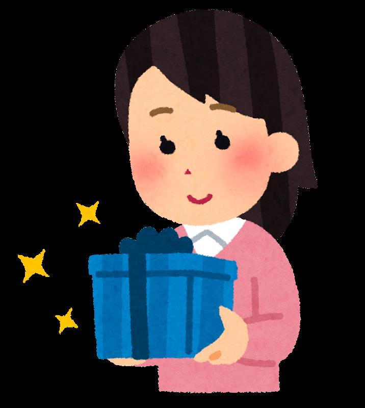 プレゼントを持つ女性のイラスト
