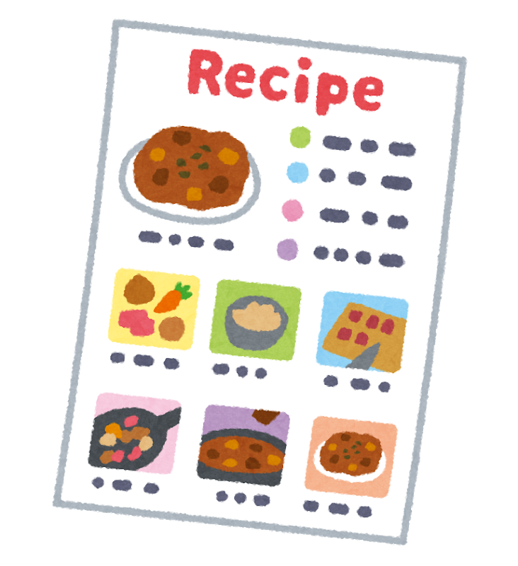料理のレシピのイラスト