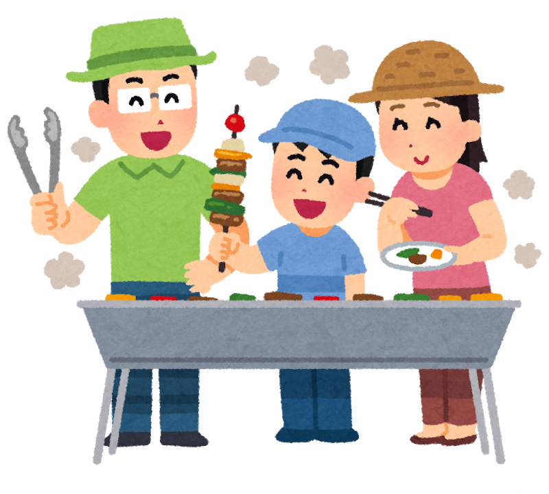 キャンプで料理を楽しむ家族のイラスト