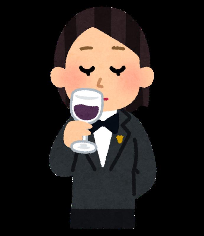 ソムリエがワインを嗅いでいるイラスト