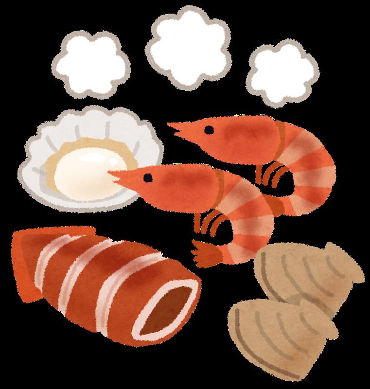 海鮮バーベキューのイラスト