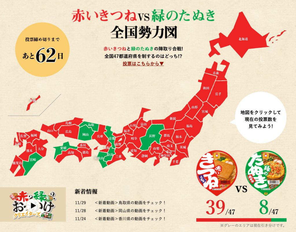 県ごとの赤いきつねと緑のたぬきの投票結果