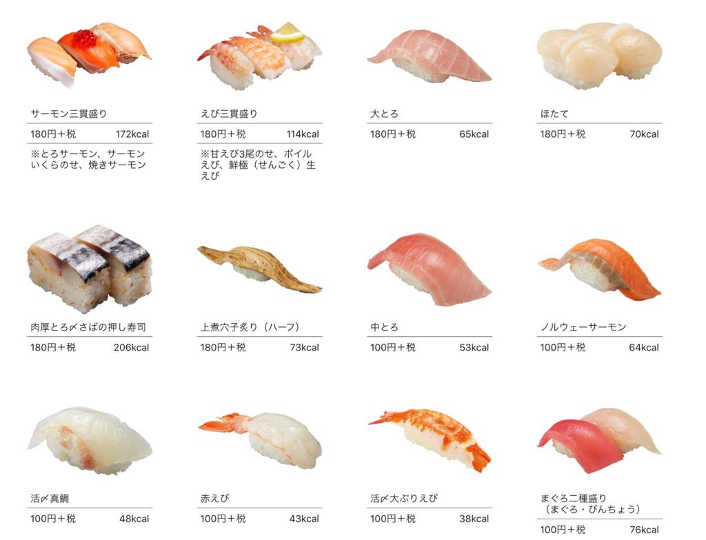 かっぱ寿司のメニューの画像
